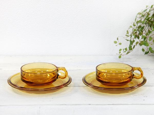 HOYA,アンバーガラス,カップ&ソーサー,食器,セット,昭和レトロ