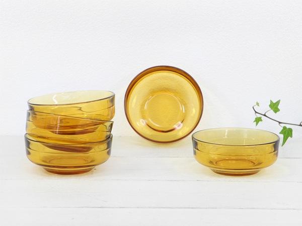 昭和レトロ,琥珀,飴色,ガラス食器,皿,セット