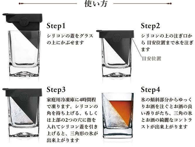 使い方 Step1:シリコンの蓋をグラスの上にかぶせます Step2:シリコンの上の注ぎ口から目安位置まで水を注ぎます                  Step3:家庭用冷凍庫に4時間程で凍ります。シリコンの角を持ち上げる、もしくは上部の2つの穴に指を入れてシリコン蓋を引き上げると、三角形の氷が出来上がります Step4:氷の傾斜部分からゆっくりお酒を注ぐと                 お酒の良い香りがたち、三角の氷とお酒の綺麗なコントラストが出来上がります