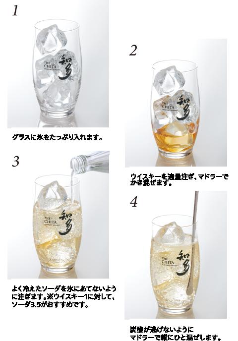 1 グラスに氷をたっぷり入れます。2ウイスキーを適量注ぎ、マドラーでかき混ぜます。3よく冷えたソーダを氷にあてないよう に注ぎます。※ウイスキー1に対して、ソーダ3.5がおすすめです。4炭酸が逃げないようにマドラーで縦にひと混ぜします。