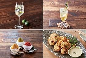 ジャパンボタニカルスプリッツァー、玄米緑茶のすだちソーダ、イカとお豆のフリット風、トリプルトマトのすだちかき氷