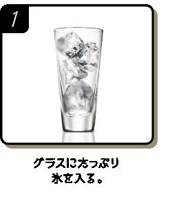 グラスにたっぷり氷を入る。