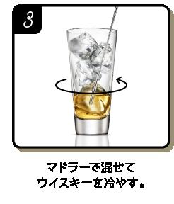 マドラーで混ぜてウイスキーを冷やす。