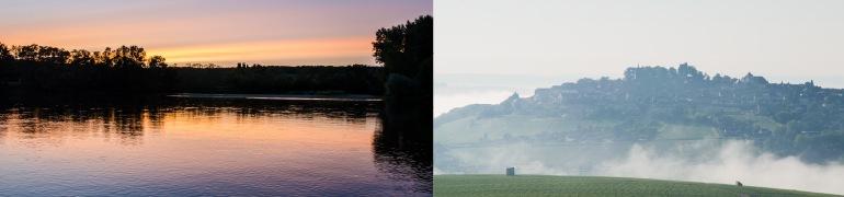 ロワール川の夕暮れ/朝霧の中のサンセール
