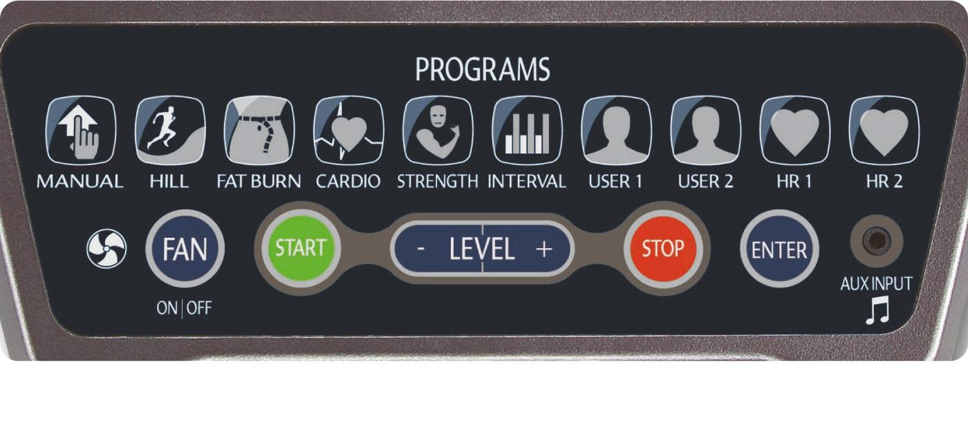 操作パネルの負荷調整ボタン