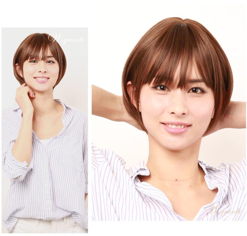 私元気s019-brフルウィッグ着用の正面から見たモデル左バージョン