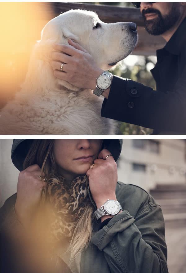 オーカーフォーク 24時間表示腕時計シルバー色の使用イメージ