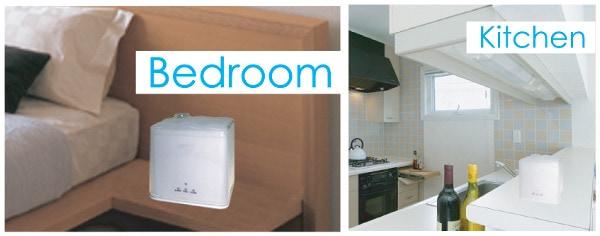 アイスキューブの寝室、キッチンでの利用イメージ画像