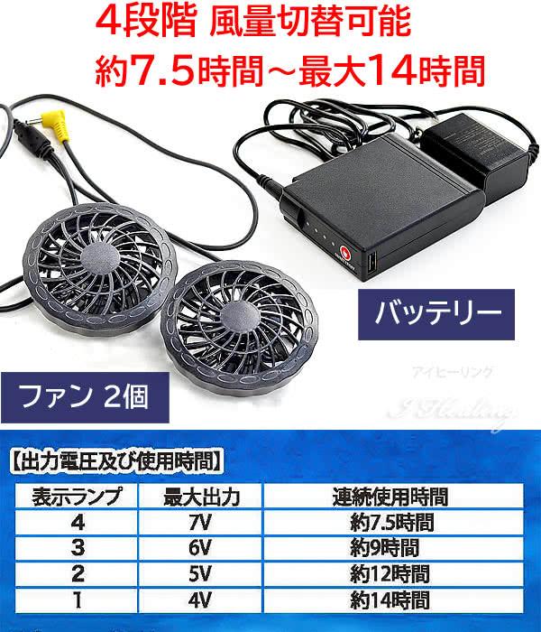 4段階 風量切替可能 ファンとバッテリー