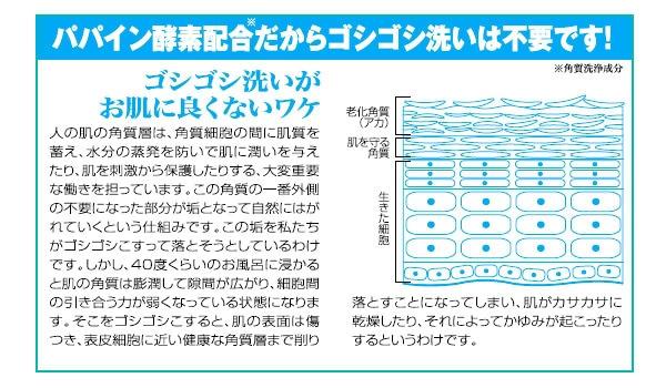 パパイン酵素配合だからゴシゴシ洗いは不要です。