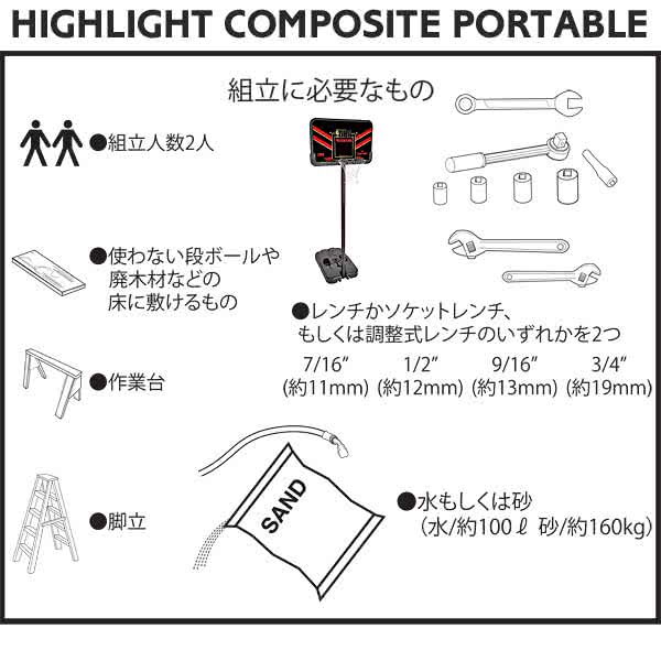 HIGHLIGHT COMPOSITE PORTABLE組み立てに必要なもの