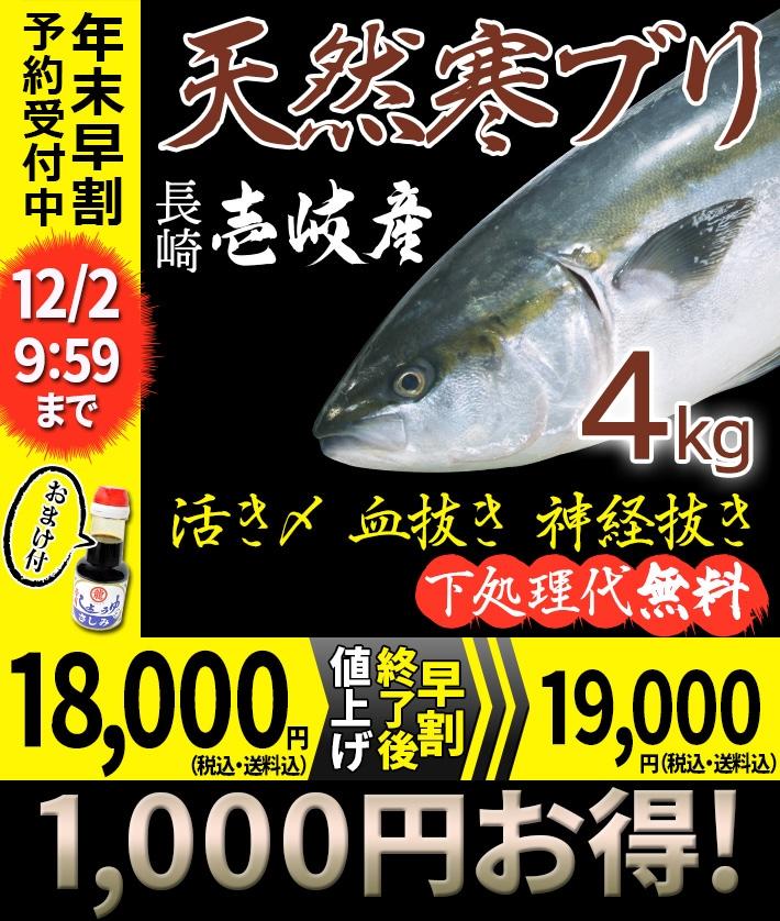 寒ブリ4kg 18000円