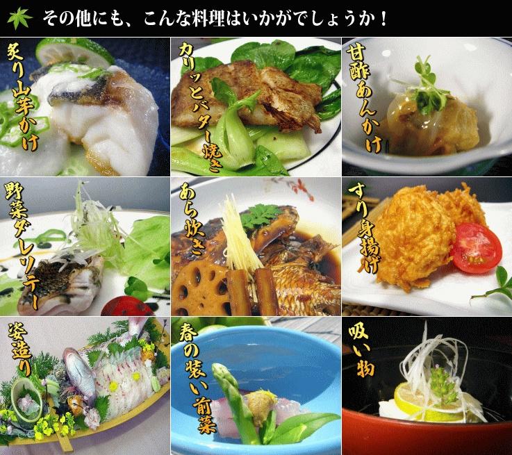 炙り山芋かけ、バター焼き、甘酢あんかけ、野菜ダレソテー、あら炊き、すり身揚げ、姿造り、前菜、吸い物