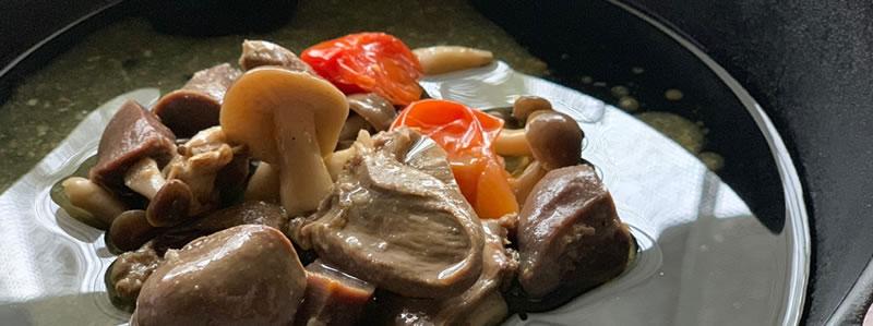 合鴨の肝肉とキノコのアヒージョ 2019 GW 令和を祝う 一湖房の限定商品