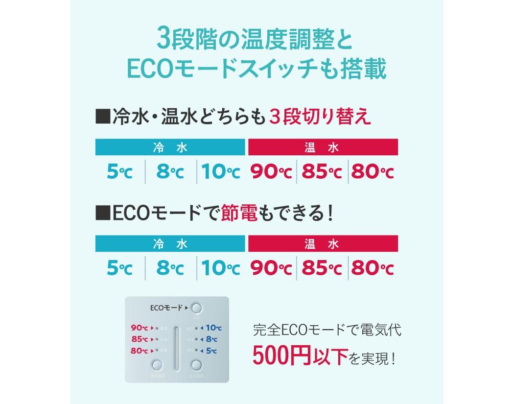 3段階の温度調整とECOモードSwitchも搭載。冷水・温水どちらも3段切り替え