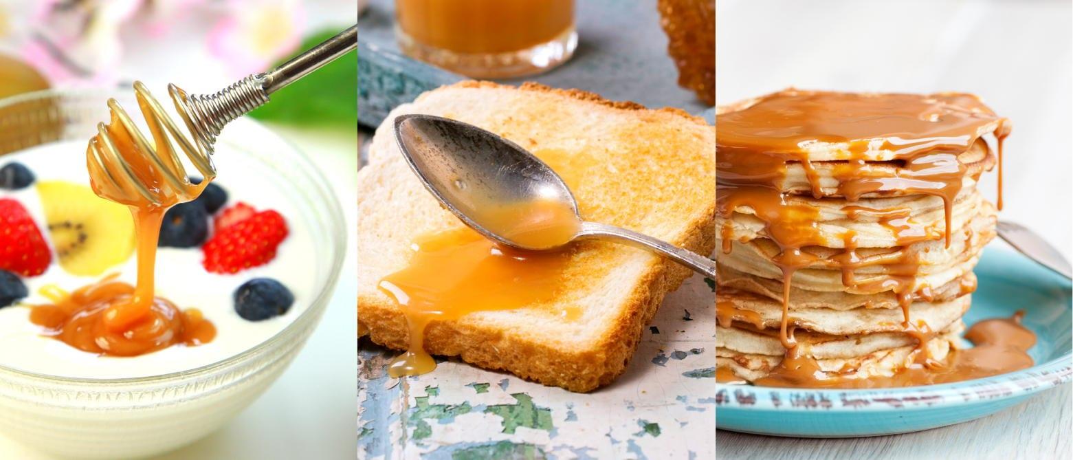 ヨーグルト、トースト、ホットケーキ