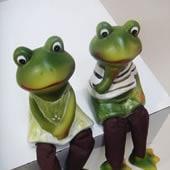 置物 お座り人形 カエル 2個セット