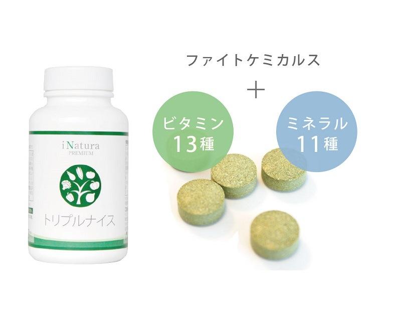 アイナチュラ社トリプルナイスはファイトケミカルスとビタミン13種とミネラル11種
