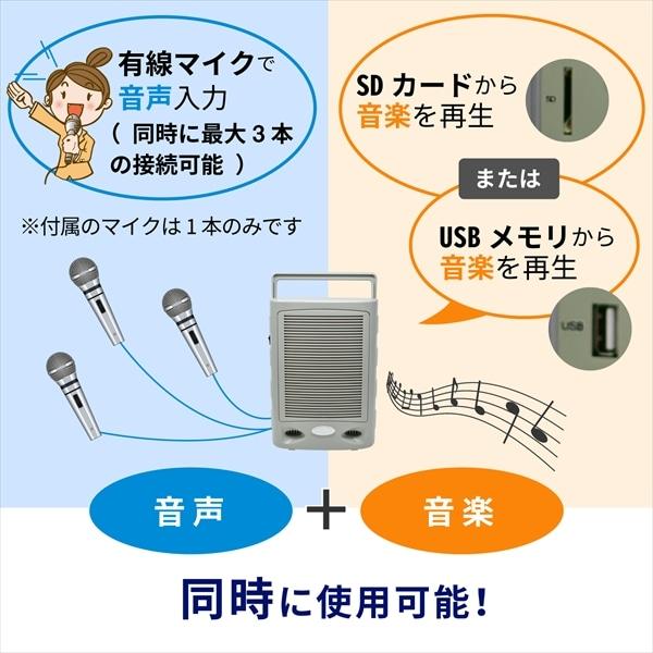 音声と音楽、同時に使用可能!有線マイクで音声入力(同時に最大3本の接続可能)※付属のマイクは1本のみです。SDカードまたはUSBメモリから音楽を再生できます。