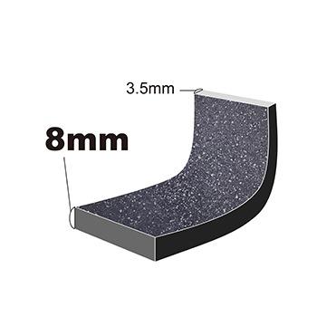 ruhru(ルール)健康フライパンは、底8mm、側面3.5mmの厚さ