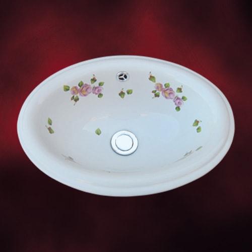 薔薇の模様がおしゃれな陶器の洗面ボウル