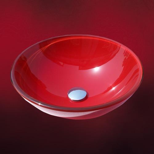 鮮やかな赤いガラスの洗面ボウル
