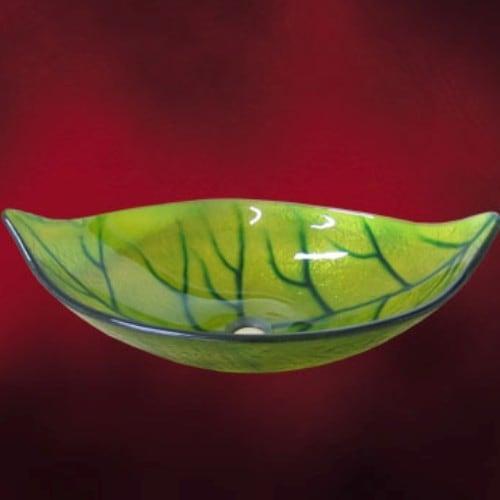 葉っぱのデザインが可愛いガラス洗面ボウル