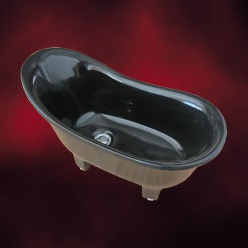 黒い猫足バスタブのような洗面ボウル