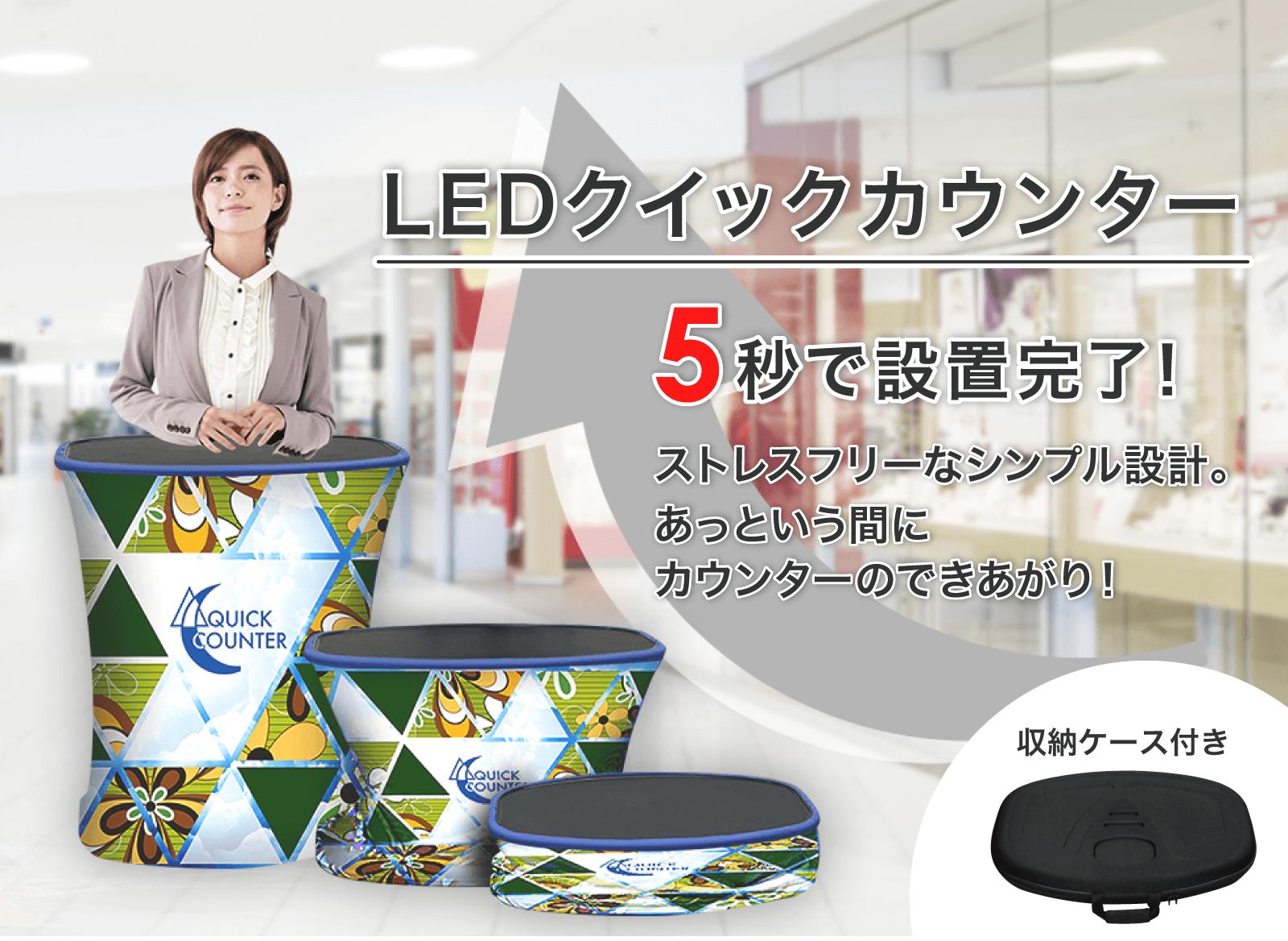 LEDクイックカウンター 5秒で設置完了!ストレスフリーなシンプル設計。あっという間にカウンターのできあがり!