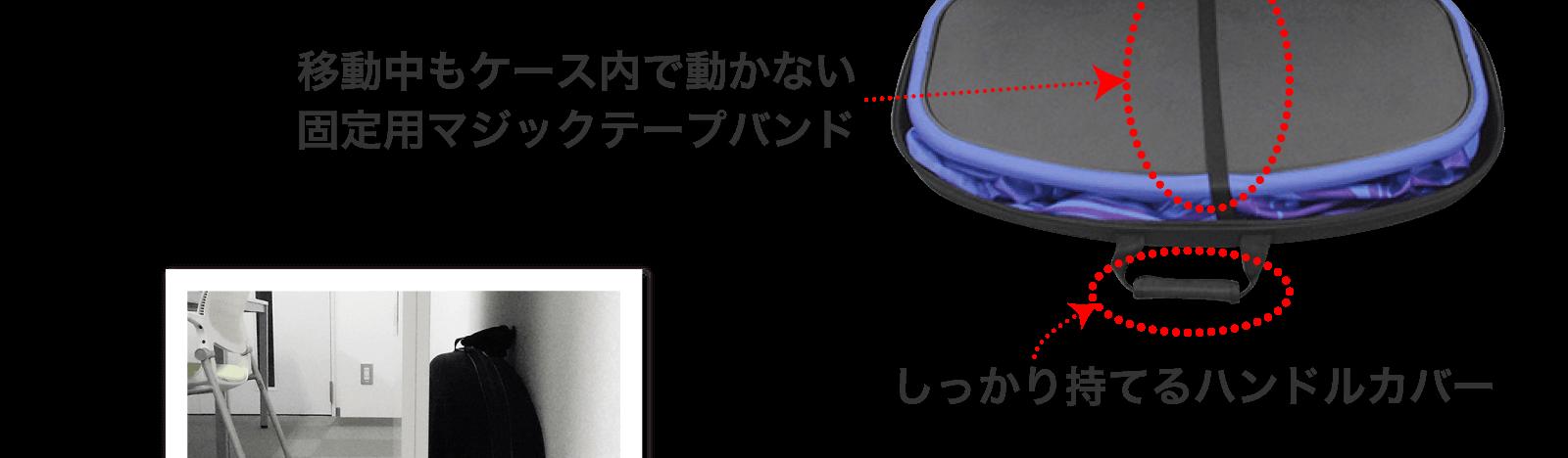 移動中もケース内で動かない固定用マジックテープバンド・しっかり持てるハンドルカバー