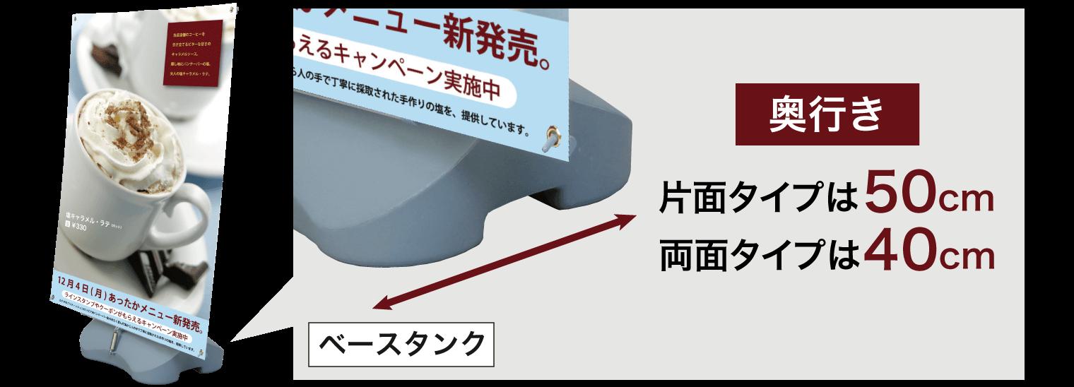 奥行き:片面タイプは50cm、両面タイプは40cm