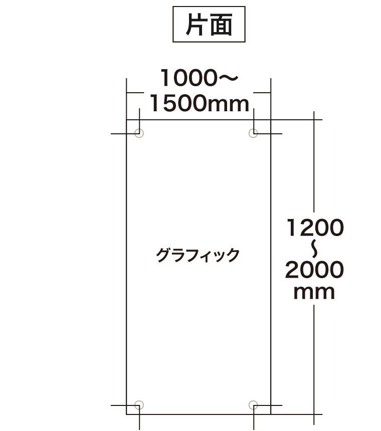 スリムバナー片面グラフィックサイズ