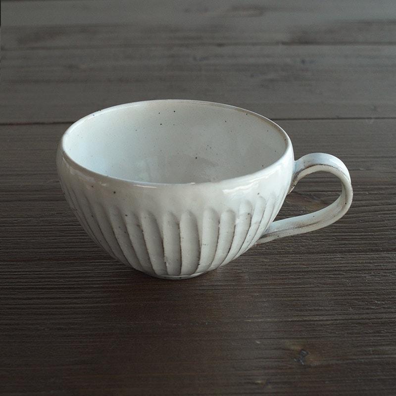 粉引削ぎ目 スープカップ