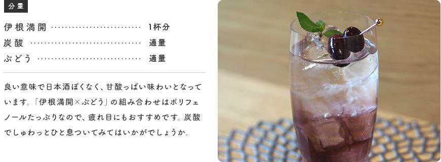 良い意味で日本酒ぽくなく、甘酸っぱい味わいとなっています。「伊根満開×ぶどう」の組み合わせはポリフェノールたっぷりなので、疲れ目にもおすすめです。炭酸でしゅわっとひと息ついてみてはいかがでしょうか。