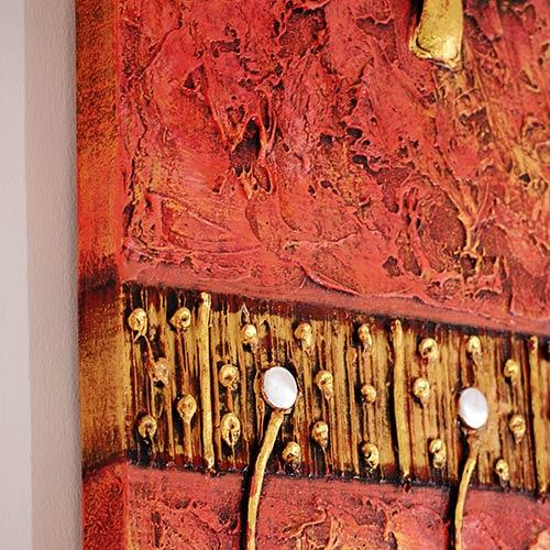 バリアート、絵画。モダンな黄金の葉っぱの抽象画