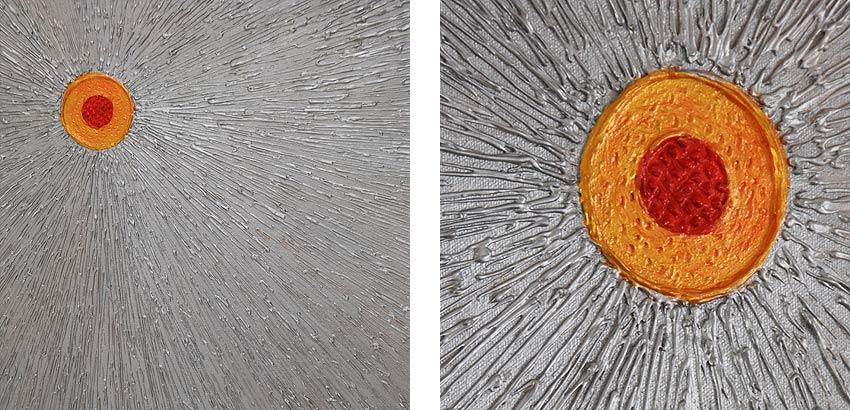 バリアート、銀色の光を放つ太陽のような抽象画