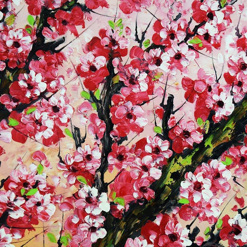 可憐に咲く紅い桜の油絵
