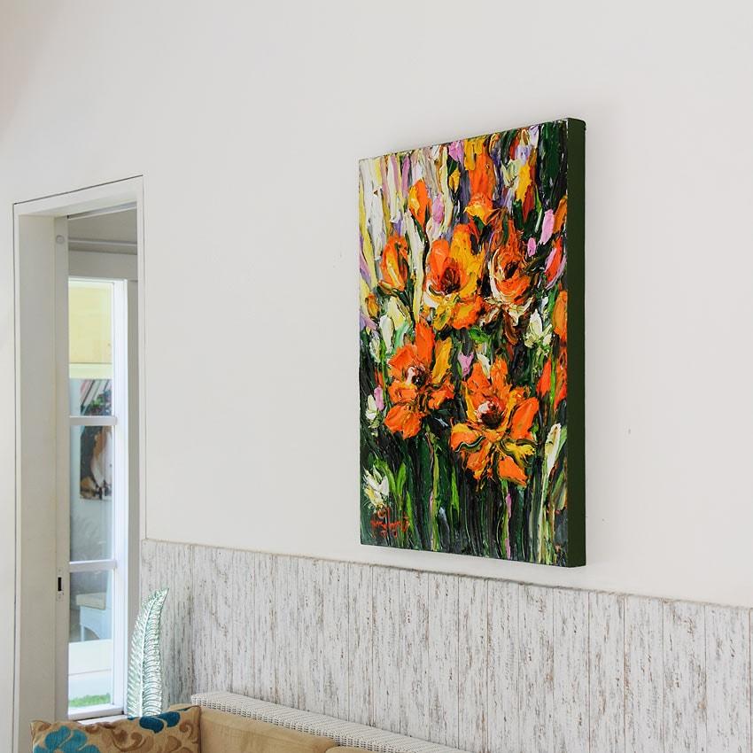 オレンジの花の油絵