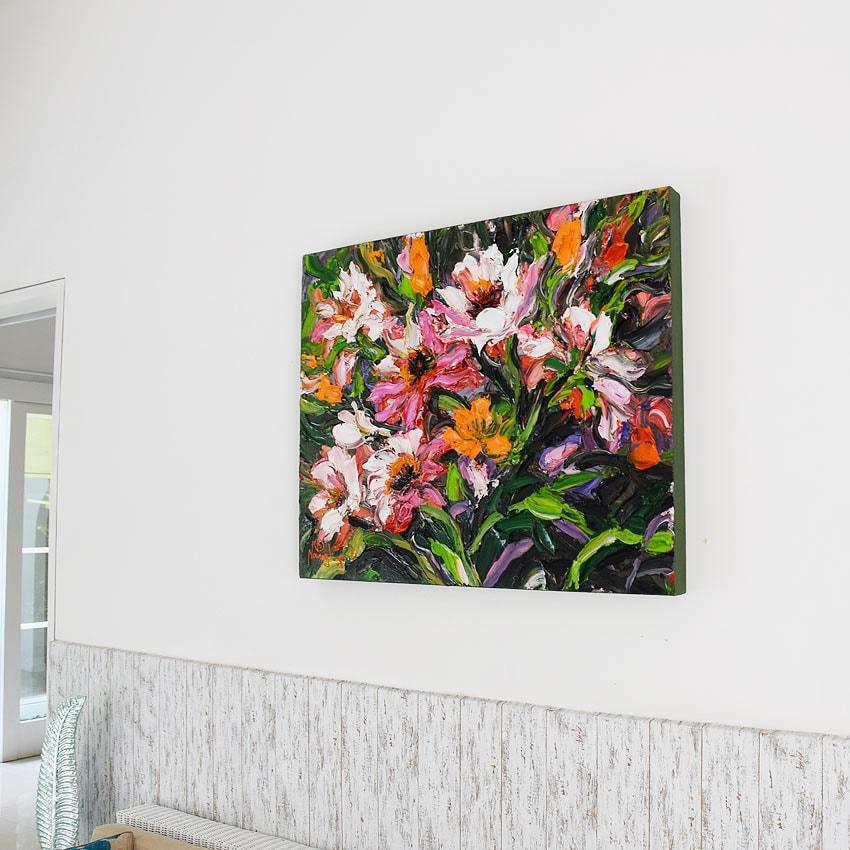 華やかに咲く花の油絵