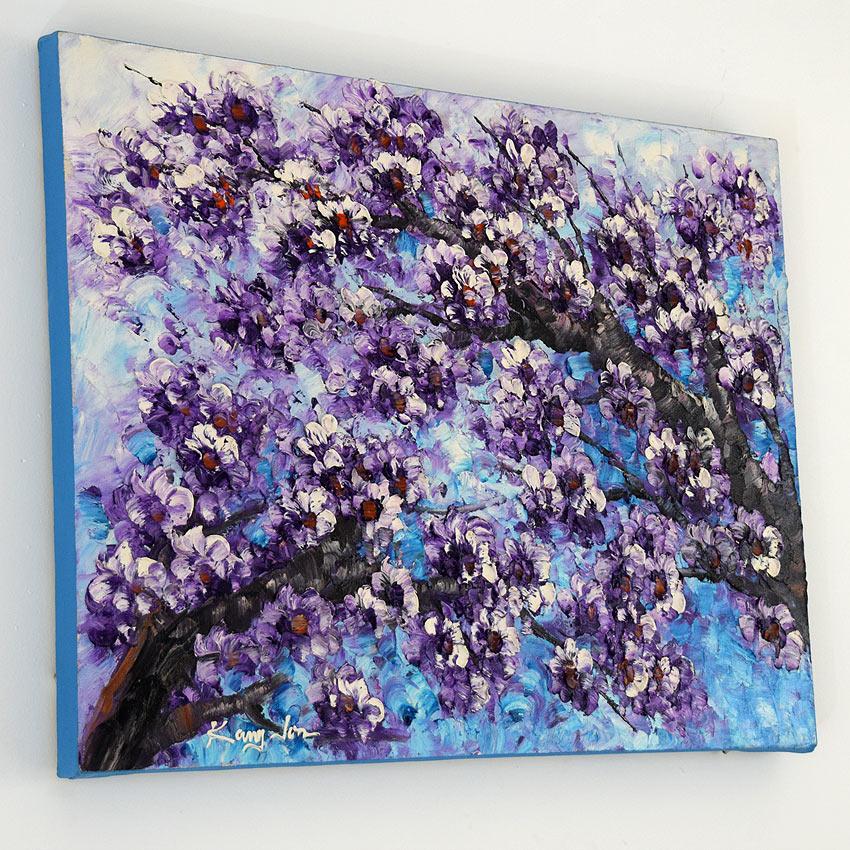 青紫で描かれた桜の油絵