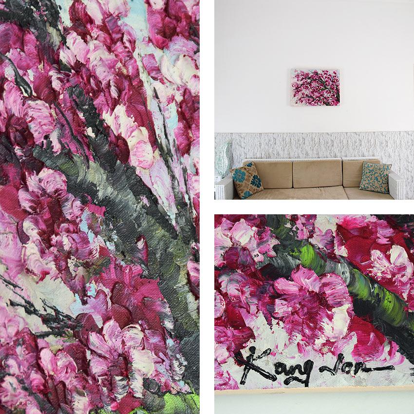 青空に伸びる鮮やかなピンク桜の油絵