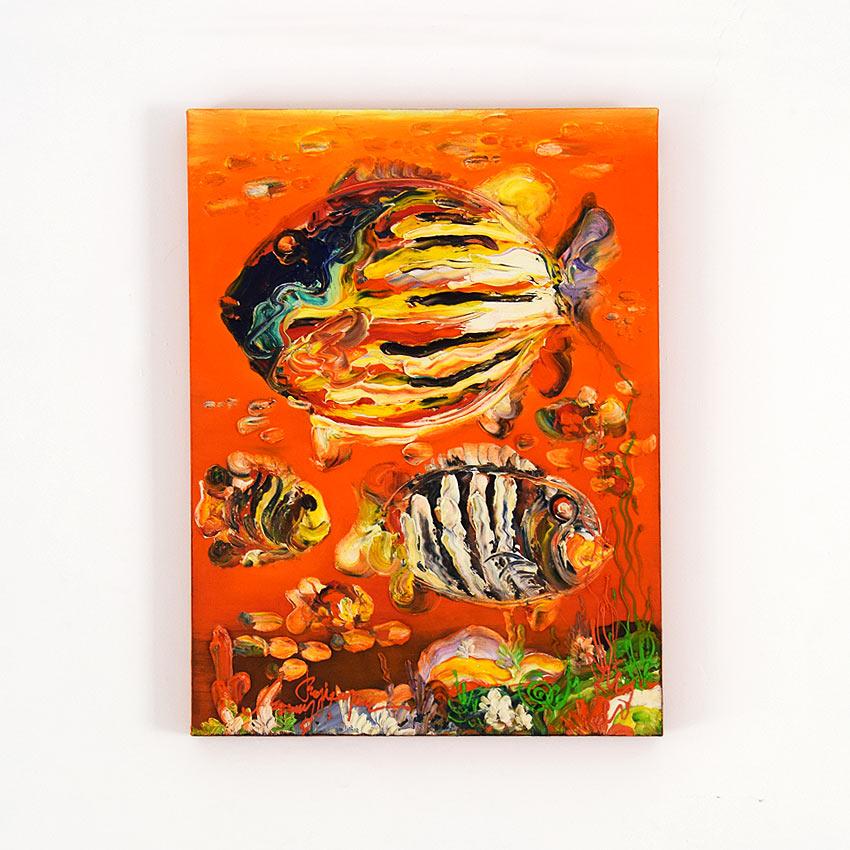 みずみずしい魚の油絵
