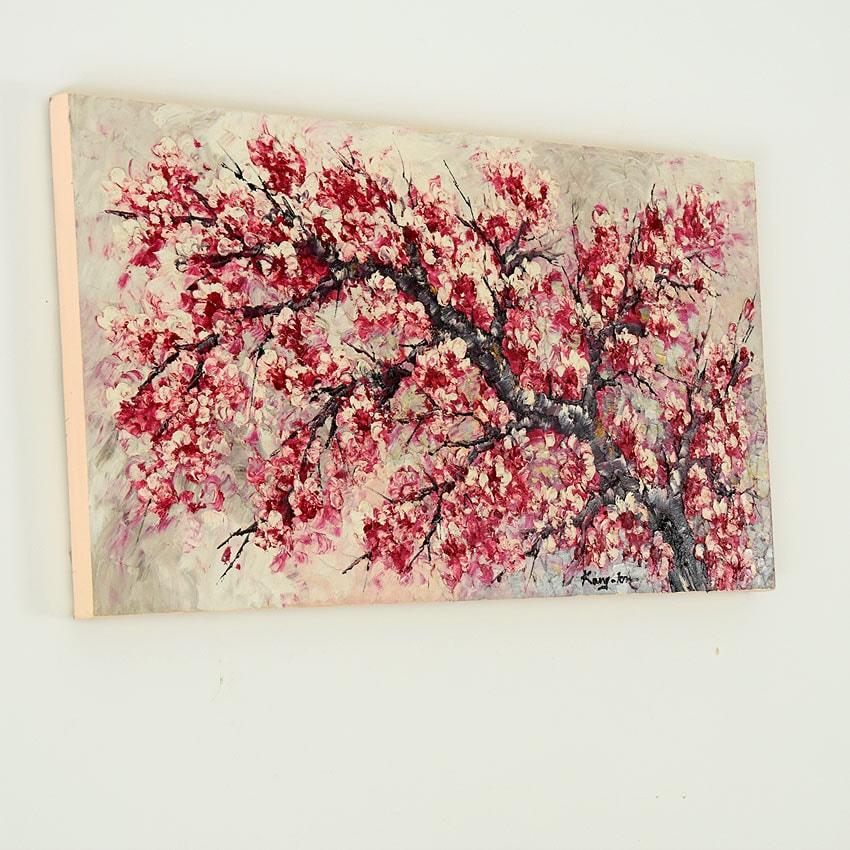 情緒的で渋い桜の油絵