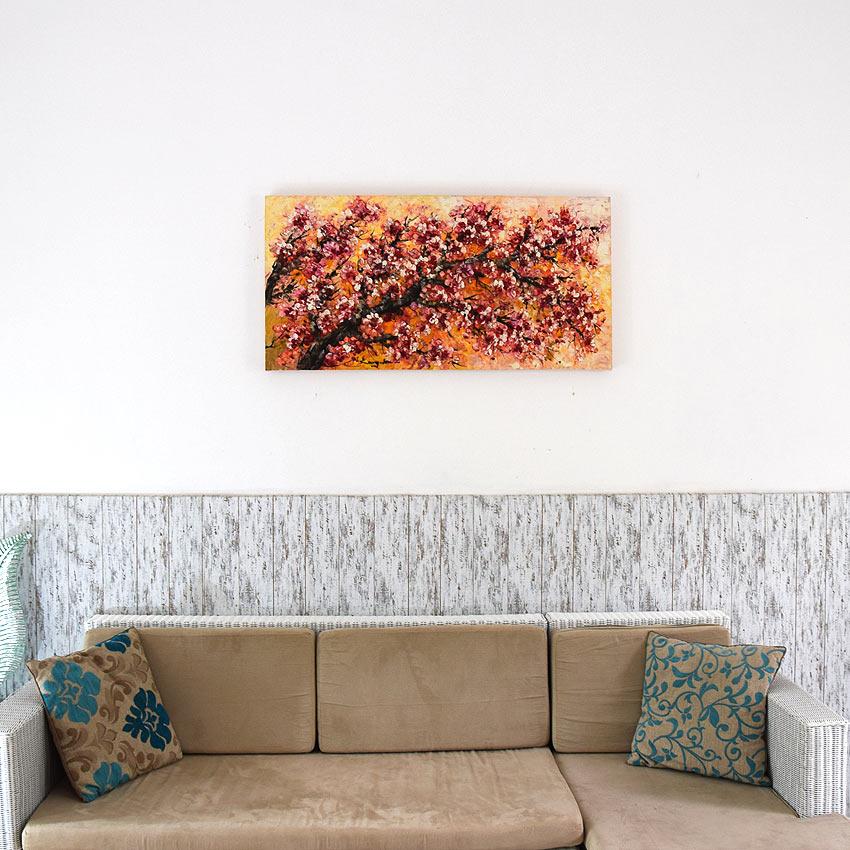 明るく華やかな桜の油絵