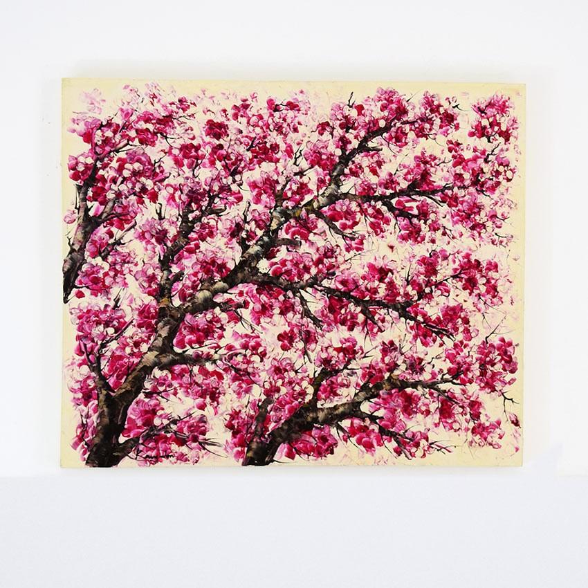 迫力ある大型の桜の油絵