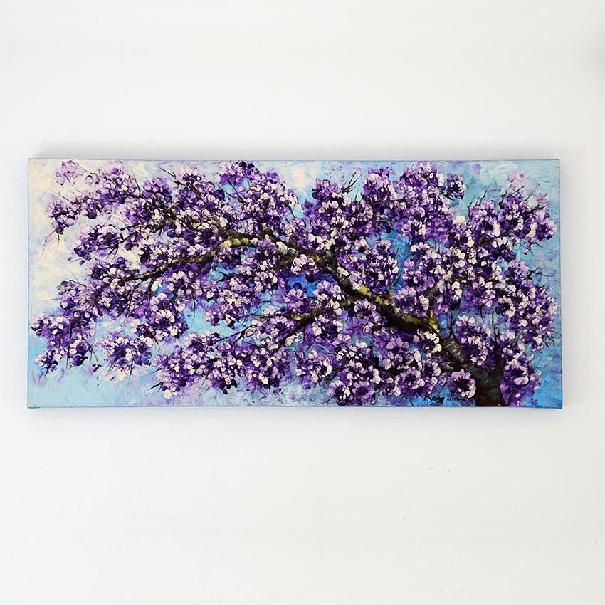 美しく迫力ある大型の桜の油絵