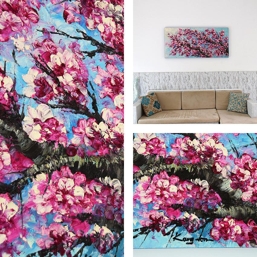 青空に咲く大型のの桜の油絵