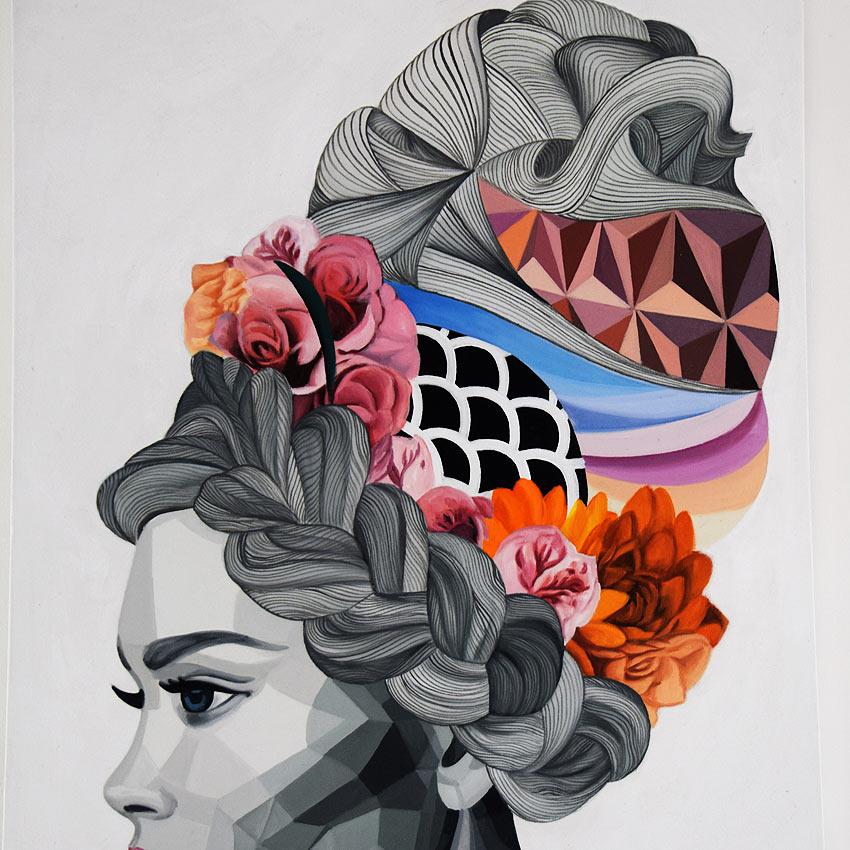 モノトーン調の美しい女性の絵画