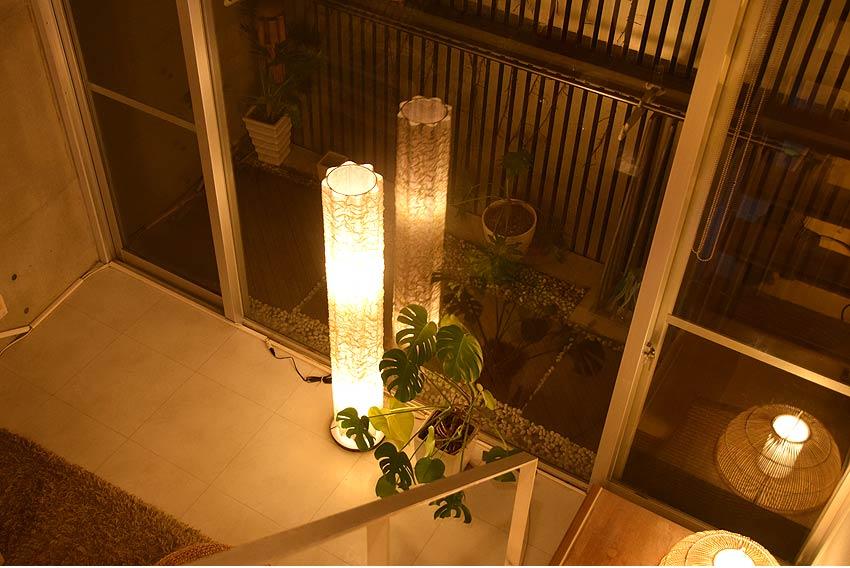 アジアン照明。コットンのフロアスタンドライト