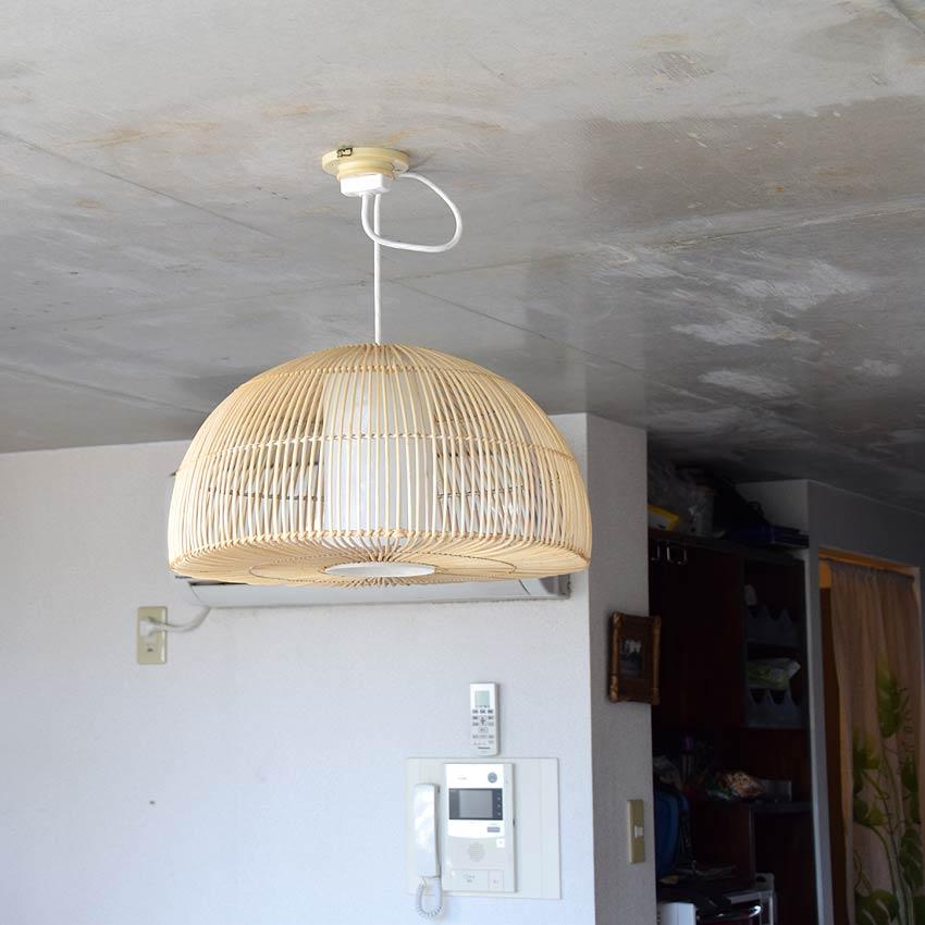 アジアン照明。ラタンのドーム型ペンダントライト間接照明